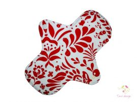 24 cm cloth pad with red flowers and leaves pattern, for heavy flow