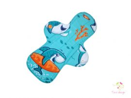 28 cm cloth pad with shark pattern, for extra heavy flow