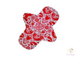 24 cm white cloth pad with red folk art pattern, for heavy flow