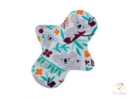 24 cm white cloth pad with koala bear pattern, for heavy flow
