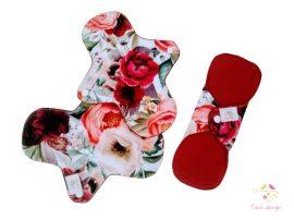 20 cm-es színes rózsás mosható női betét, enyhe vérzéshez