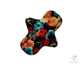 24 cm-es fekete alapon színes virágos mosható női betét, erős vérzéshez