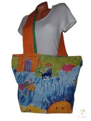 Big bag for shopping with colorful drawing pattern