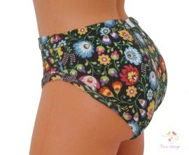 Period panties for light flow in bikini style with colorful flowers pattern on black base