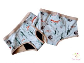 Period panties for extra heavy flow, in boyshort style, with cute forest animals