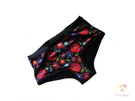 Period panties for heavy flow, in boyshort style with folk pattern