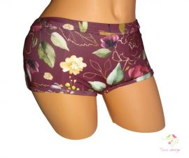 Claret period panties for heavy flow, in boyshort style, with gold flowers
