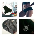 "Black period panties for moderate flow with ""boat"" design and replacable cloth pads"
