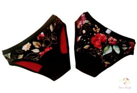 """Period panties for moderate flow, with """"gold flowers on black base"""" pattern"""