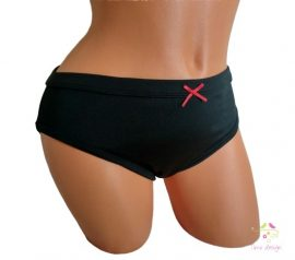 Black period panties for heavy flow, in bikini style, with red bow