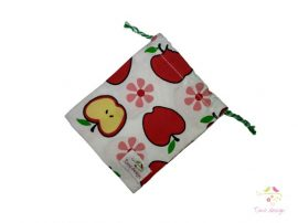Cotton cup bag with apple pattern