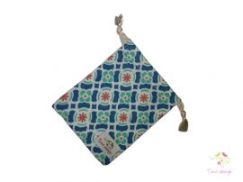 Biocotton cup bag with blue - coral coloured flower pattern