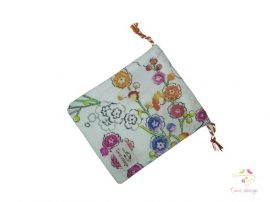 Cotton cup bag with multicolor flowers pattern