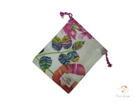 Cotton cup bag with multicolor leaves pattern