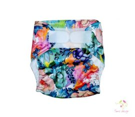 Diaper cover with watercolor flowers pattern