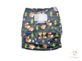 Diaper cover with foxes pattern