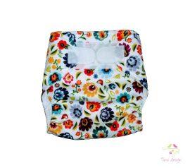 Folk - fehér alapon színes virágos - mosható pelenka külső (dupla PUL))