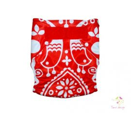 Diaper cover - Folk red and white pattern