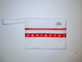 White wetbag with red nautical pattern
