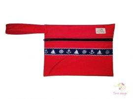 Red wetbag with navy nautical pattern
