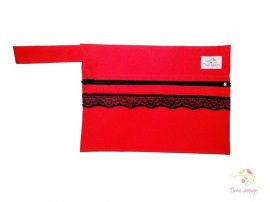 Red wetbag with black lace