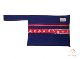 Navy wetbag with red nautical pattern