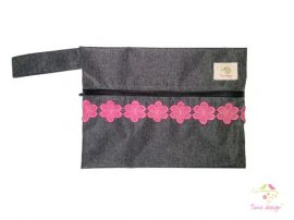 Grey wetbag with pink lace