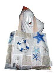 Kék tengerész mintás strandtáska, bevásárló táska (vízálló)