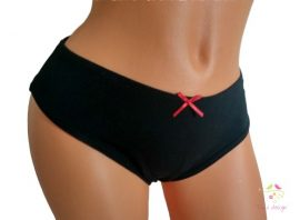 Leak-proof thong in black colour with red bow, for super light flow