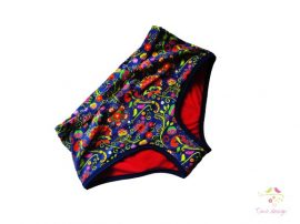 Teen period panties for heavy flow, in boyshort style with Timo design unique pattern