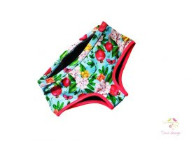Gyümölcsös-virágos tini menstruációs bugyi közepes erősségű vérzéshez, boyshort fazonban