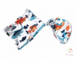 Boy swimming trunks and cap set with blue-orange fishes pattern
